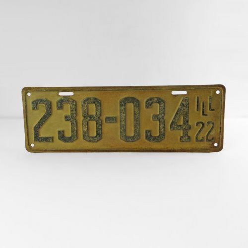 1922 Authentic Vintage Illinois Metal Car License Plate