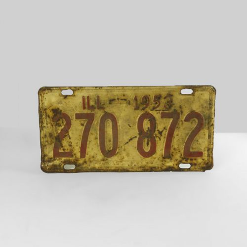 1953 Authentic Vintage Illinois Metal Car License Plate
