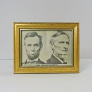 Civil War Presidents Vintage Framed 7 x 5 Postcard