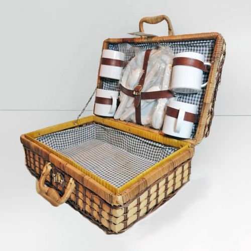 Picnic Basket in Wicker Suitcase Style with Dinnerware