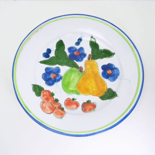 Portugal 12 Inch Handpainted Fruit Deep Ceramic Dish Plate
