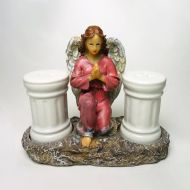 Angel in a Pink Dress Ceramic Salt and Pepper Shakers Set