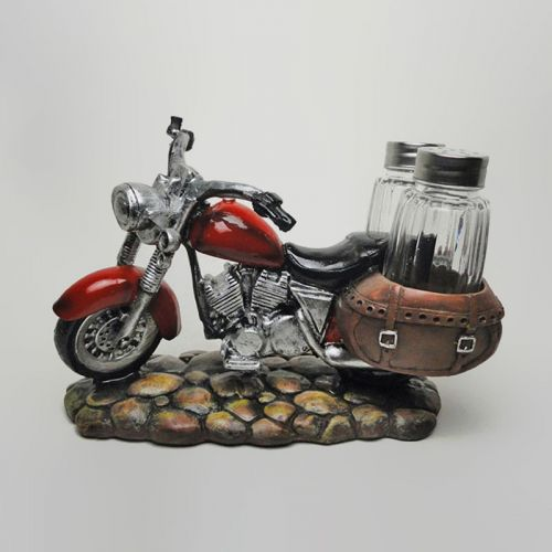 Motorcycle and Saddlebags Figurine Salt and Pepper Shakers