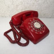 Western Electric Red Rotary Dial Desk Telephone