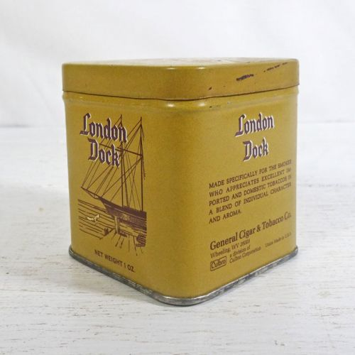 London Dock Metal Vintage Tobacco Tin with Lift Off Lid