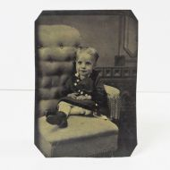 Antique Tintype Little Girl Sitting in Big Chair