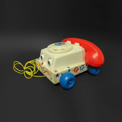 Fisher Price 1961 Vintage Wood Base Pull Chatter Telephone